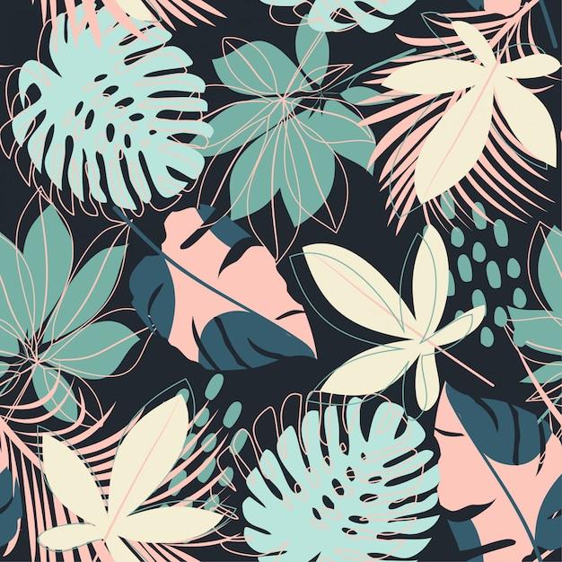 Verão abstrata padrão sem emenda com folhas tropicais coloridas Vetor Premium
