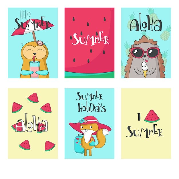 Verão animal cartões vector mão ilustrações desenhadas Vetor Premium