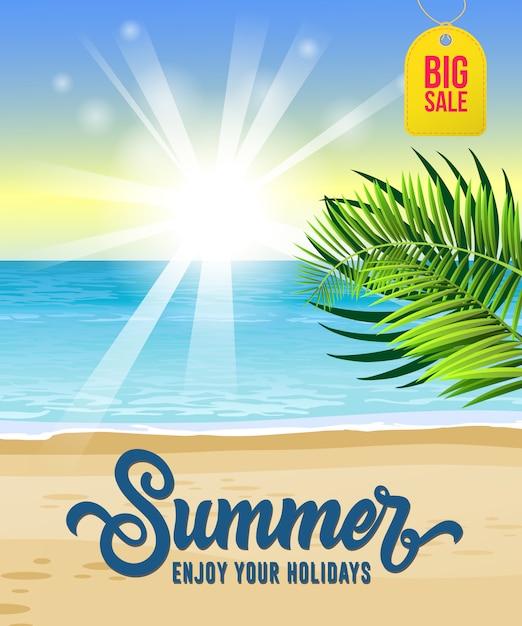 Verão, aproveite as suas férias, grande cartaz de venda com o mar, praia tropical, nascer do sol Vetor grátis