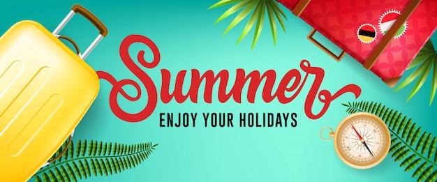 Verão, aproveite o seu banner de férias com folhas tropicais, bússola e casos de viagem Vetor grátis