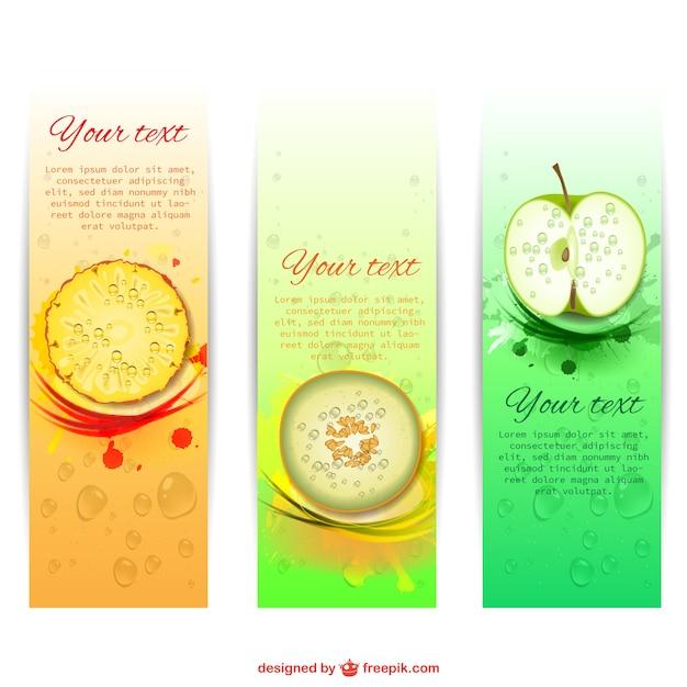 Verão banners frutados Vetor grátis