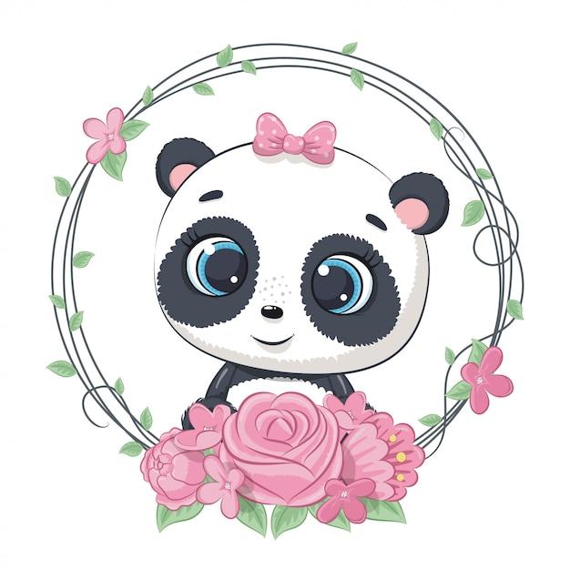 Verão bonito bebê panda com coroa de flores. ilustração para chá de bebê, cartão, convite para festa, impressão de t-shirt de roupas da moda Vetor Premium