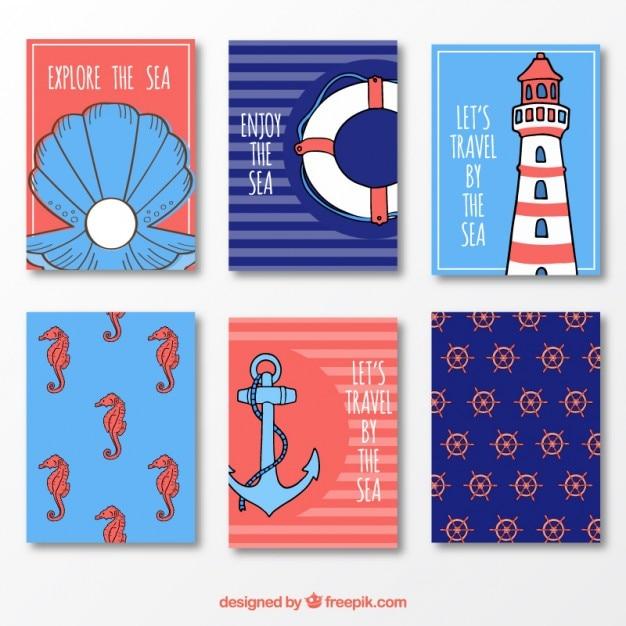 Verão cartões bonito em azul e vermelho Vetor grátis