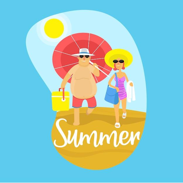 Verão casal Vetor Premium