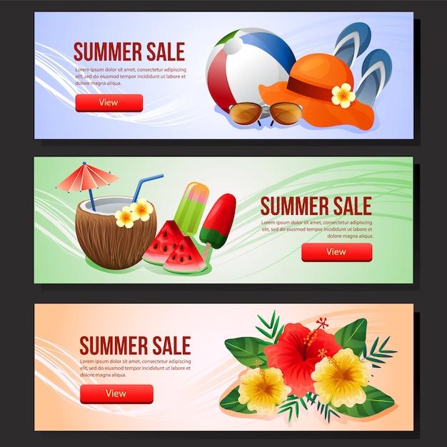 Verão colorido venda banner modelo web verão bebida vector illustration Vetor Premium