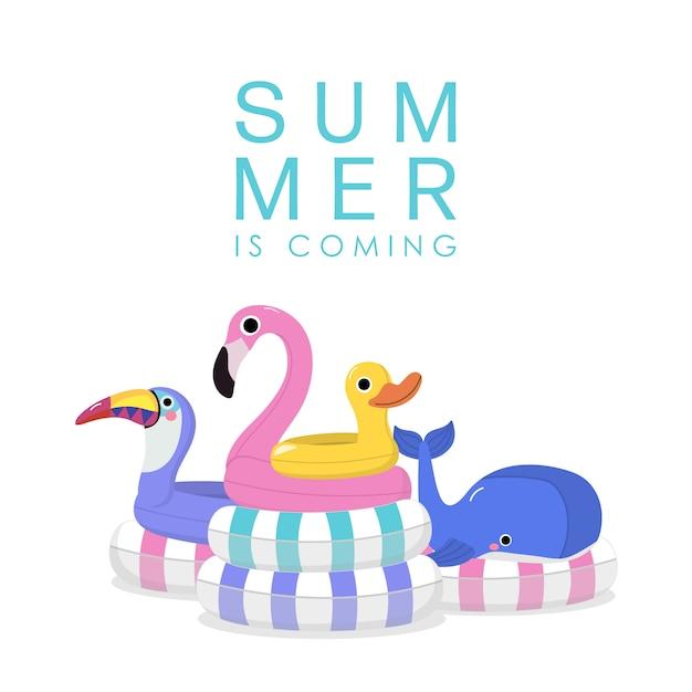 Verão com flamingo rosa, tucano violeta, baleia azul e pato amarelo nadar anel de borracha Vetor Premium