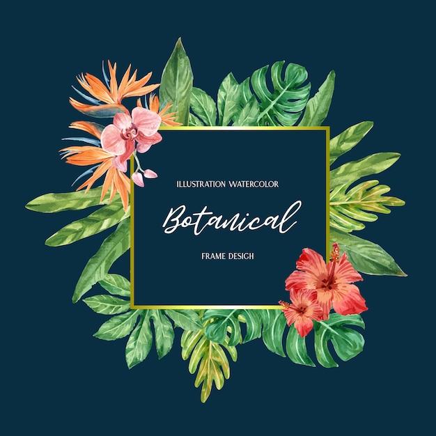 Verão de design de borda quadro tropical com plantas folhagem exóticas Vetor grátis
