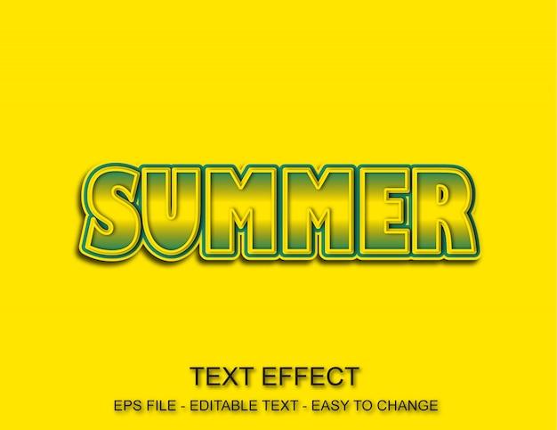Verão de efeito de texto editável Vetor Premium
