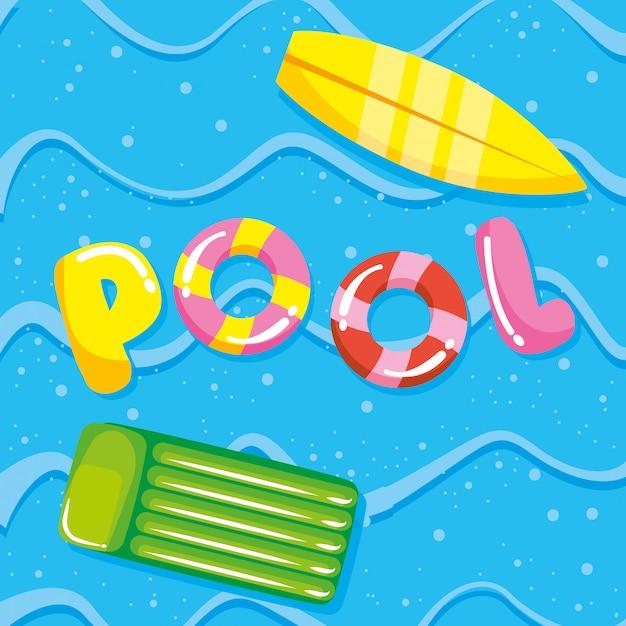 Verão de piscina e desenhos de férias Vetor Premium