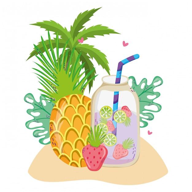 Verão e bebidas tropicais Vetor Premium