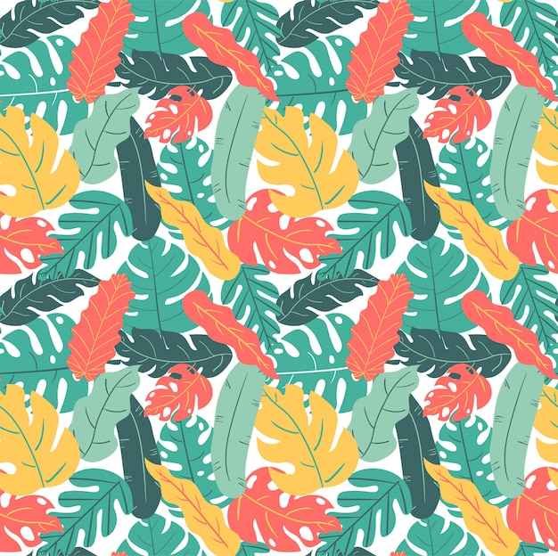 Verão e outono cor tropical folha mão desenho padrão sem emenda Vetor Premium
