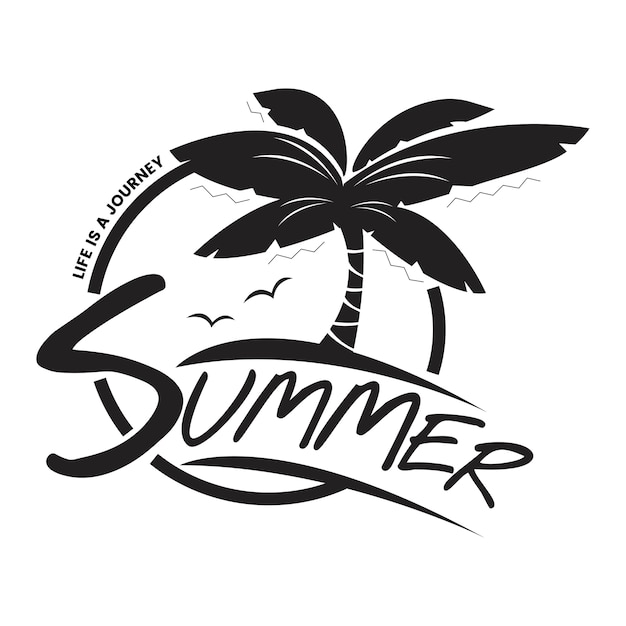 Verão e tipografia de férias ilustração Vetor grátis