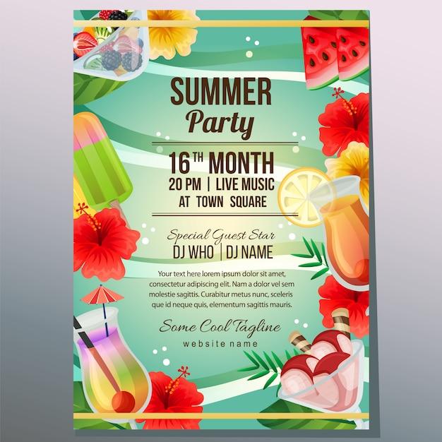 Verão festa férias cartaz modelo praia refreshment objeto vector illustration Vetor Premium