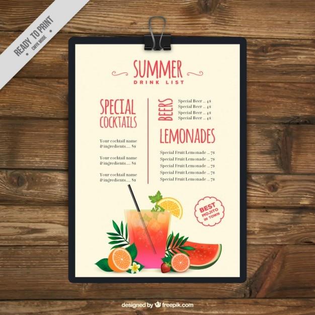 Verão lista de bebida prancheta Vetor grátis