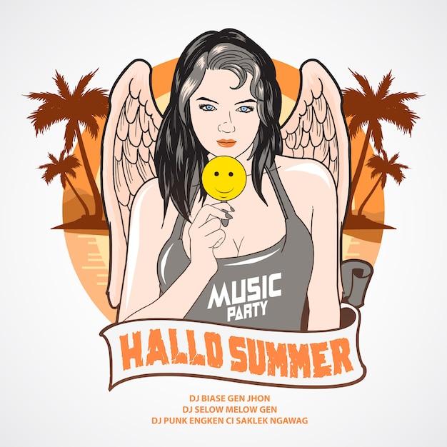 Verão, menina música, partido, anjo, coqueiro, árvore, e, praia, fundo Vetor Premium