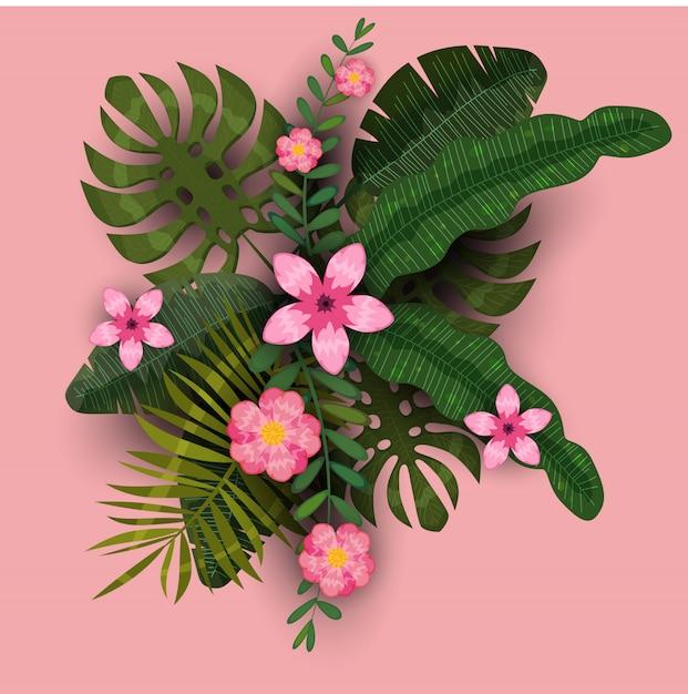 Verão modelo na moda exóticas plantas e hibiscos flores fundo tropical Vetor Premium