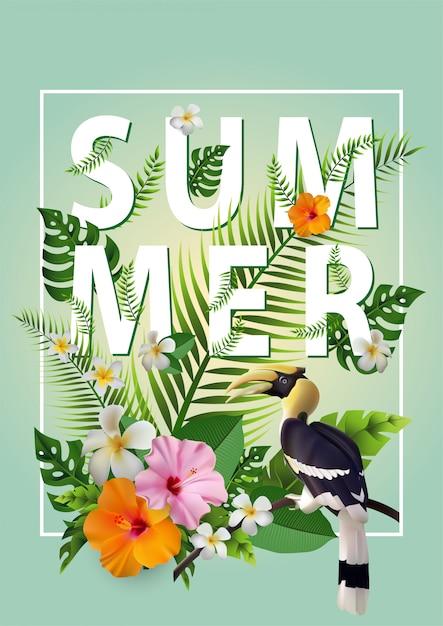 Verão na moda tropical Vetor Premium