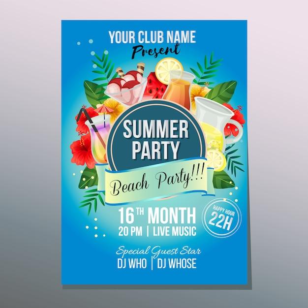 Verão praia festa cartaz feriado colorido refresco ilustração vetorial Vetor Premium