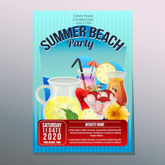 Verão praia festa festival férias cartaz modelo refresco ilustração vetorial Vetor Premium