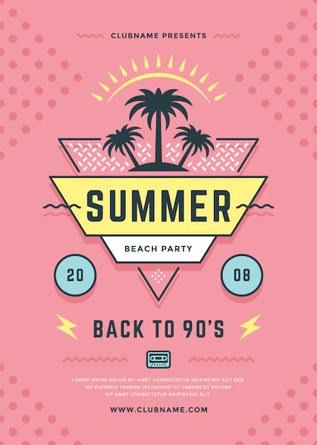 Verão praia festa panfleto ou cartaz modelo tipografia estilo. Vetor Premium