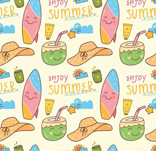 Verão temático doodle fundo sem emenda Vetor Premium