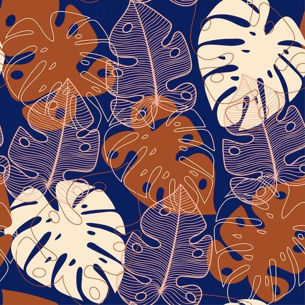 Verão tendência abstrata sem costura padrão com folhas tropicais Vetor Premium