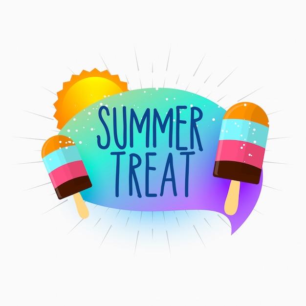 Verão tratar sorvete e sol fundo Vetor grátis