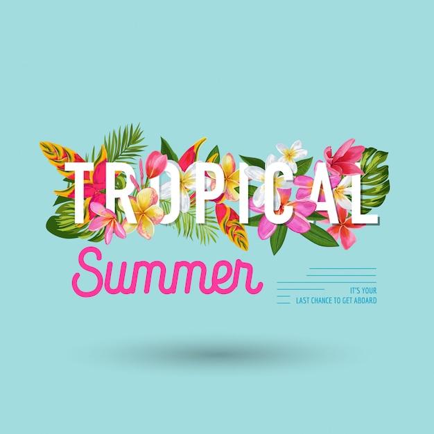 Verão tropical com design de flores exóticas Vetor Premium