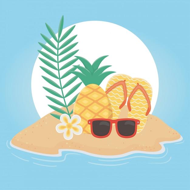 Verão viagens e férias chinelos abacaxi óculos de sol praia tropical flor ilustração vetorial Vetor Premium
