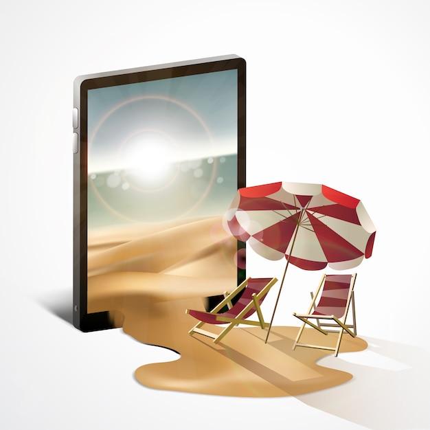Verão viajando com telefone celular Vetor Premium