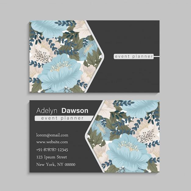 Verde da hortelã dos cartões de visitas da flor Vetor grátis