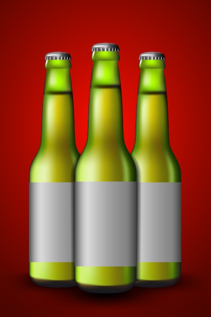 Verde de garrafa de cerveja Vetor Premium