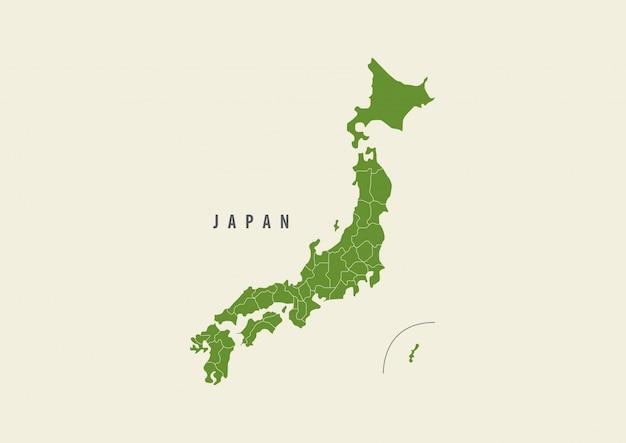 Verde de mapa do japão isolado no fundo branco Vetor Premium