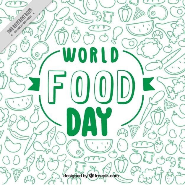 Verde do mundo fundo do dia alimentar Vetor grátis