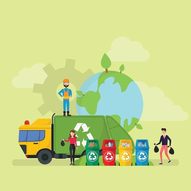 Verde eco friendly reciclagem de resíduos tecnologia lifestyle minúsculo pessoas caráter Vetor Premium
