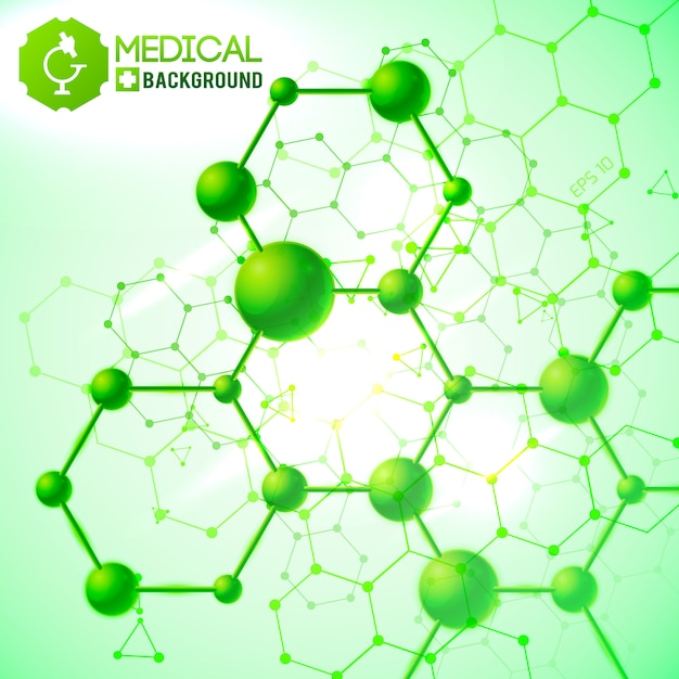 Verde médico com ilustração realista de símbolos de medicina e saúde Vetor grátis