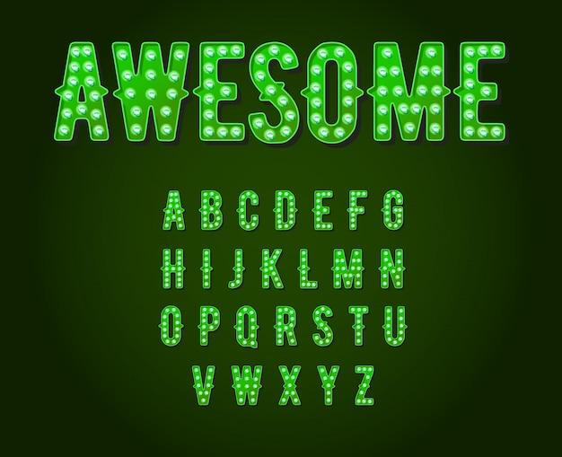 Verde neon casino ou broadway estilo lâmpada alfabeto Vetor Premium
