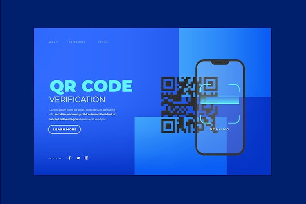 Verificação de código qr - página de destino Vetor grátis