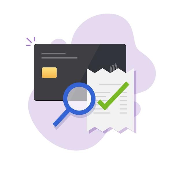 Verificação de pagamento de fatura de cartão de crédito bancário, auditoria de ícone de transação de fraude de dinheiro digital Vetor Premium