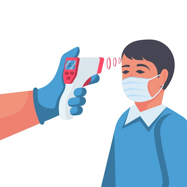 Verificação de temperatura. doutor, segurando um termômetro sem contato na mão Vetor Premium