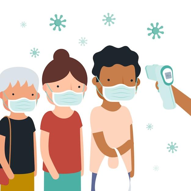 Verificação pública da temperatura corporal Vetor Premium