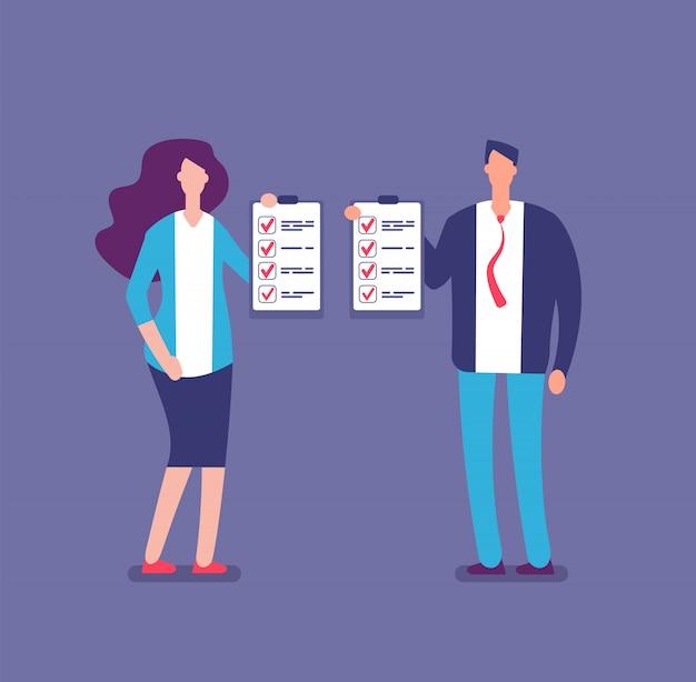Verificando a lista de planos. gerente de escritório, planejamento de lista de verificação do projeto. empresário e empresária segurar ilustração vetorial de listas de verificação Vetor Premium