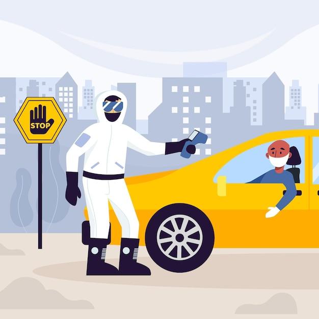 Verificando a temperatura das pessoas nos carros Vetor grátis