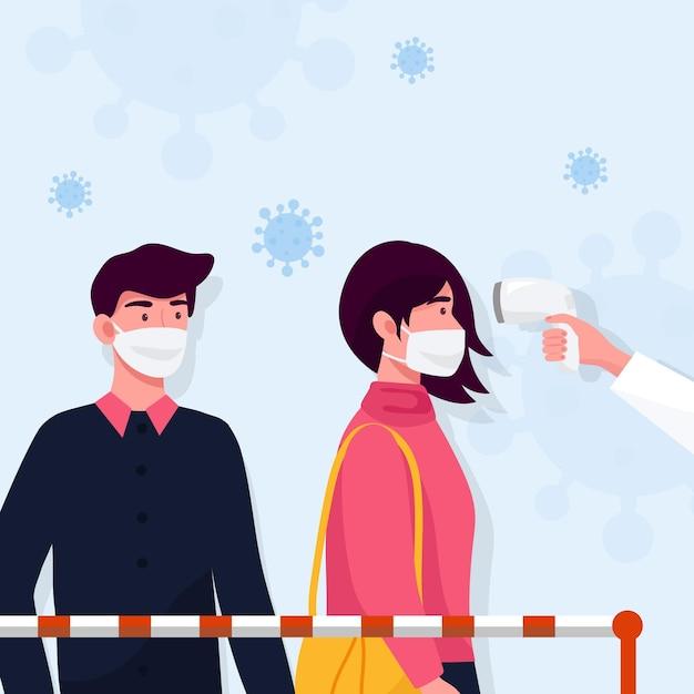 Verificando a temperatura do corpo em áreas públicas Vetor Premium