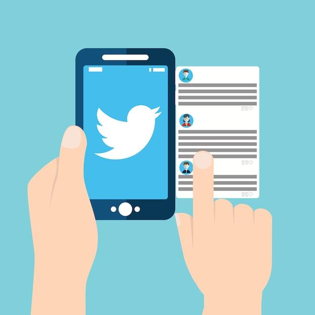 Verificando o twitter no dispositivo móvel Vetor Premium