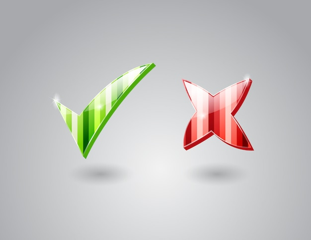 Verificar e cruzar marcas Vetor Premium