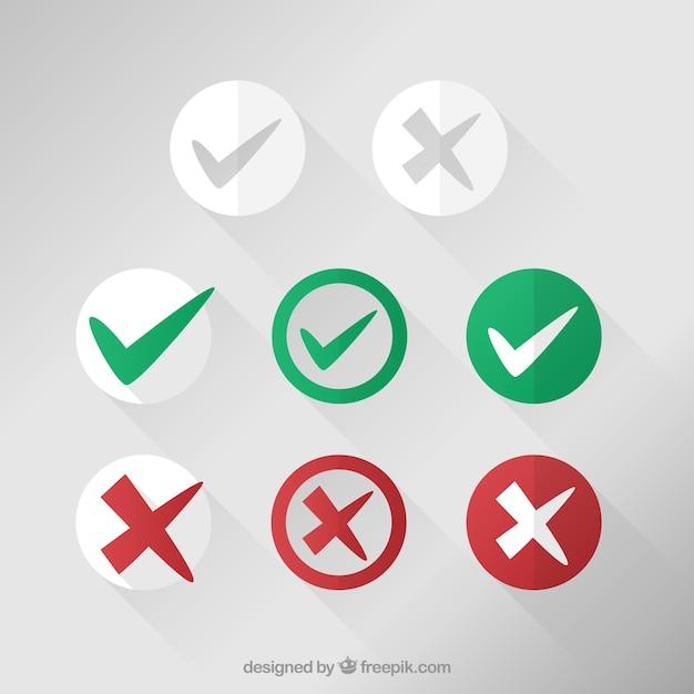 Verifique coleção dos ícones da marca Vetor Premium