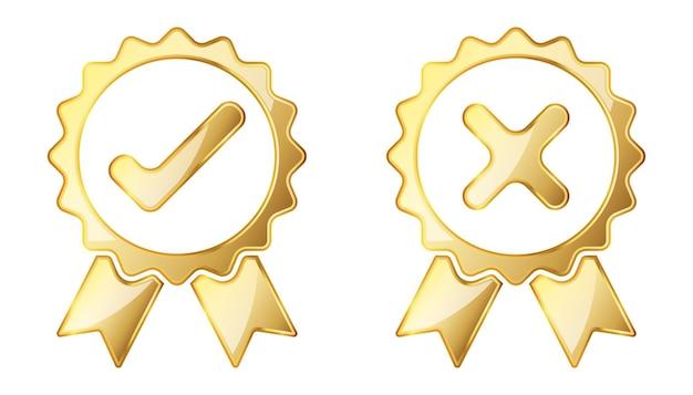 Verifique e rejeite o ícone. ilustração de ouro. sinal aprovado de ouro. símbolo de rejeição Vetor Premium