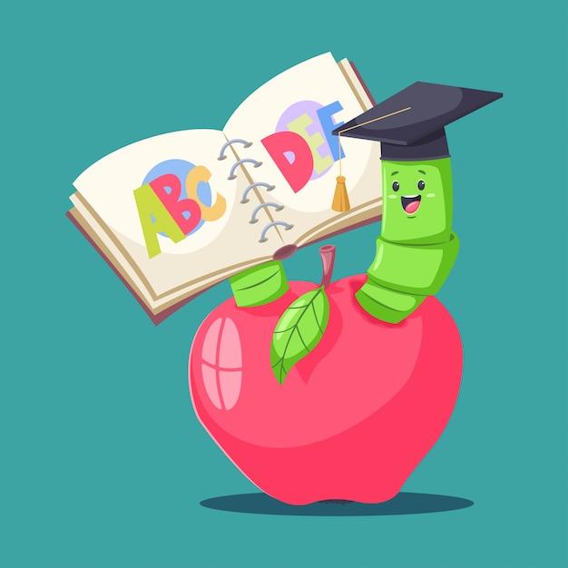 Verme de livro bonito no chapéu graduado na maçã vermelha e leitura do alfabeto. Vetor Premium