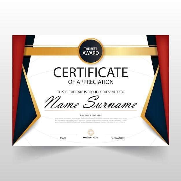 Vermelho azul ELegant certificado horizontal com ilustração do vetor Vetor grátis